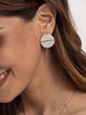 Beige Button Alloy Plain Earrings