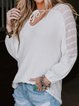 White Crew Neck Casual Floral Shirts & Tops
