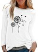 Vintage Long Sleeve Dandelion Butterfly Printed Crew Neck Plus Size Casual Tops