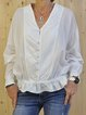 Long Sleeve Pleated V Neck Casual Shirts