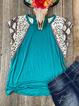 Blue Casual Crew Neck Leopard Cotton-Blend Shirts & Tops