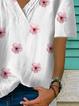 White Short Sleeve Holiday V Neck Shirts & Tops
