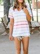 Multicolor Cotton-Blend V Neck Short Sleeve Striped Shirts & Tops