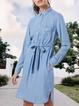 Blue Casual Long Sleeve Dresses