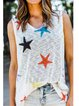 White Sleeveless Star Knitted Holiday Shirts & Tops