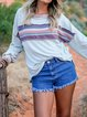 Gray Long Sleeve Color-Block Cotton-Blend Round Neck Shirts & Tops