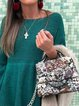 Green Bateau/boat Neck Long Sleeve Patchwork Sweater