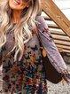 Gray Cotton-Blend Long Sleeve V Neck Sweatshirt