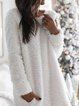 White Round Neck Cotton-Blend Casual Patchwork Dresses