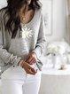 Light Gray Printed Long Sleeve Sweatshirt