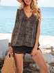 Black Floral Boho Sleeveless Shirts & Tops
