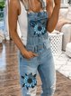 As Picture Floral-Print Holiday Denim One-Pieces