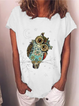 Vintage Casual Plus Size Printed Short Sleeve Tee Shirts Tops