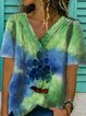 Ombre/tie-Dye Shift Short Sleeve Shirts & Tops