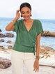 Lightgreen Casual Plain Short Sleeve Paneled Shirts & Tops