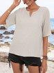 Light Gray Paneled Cotton-Blend Short Sleeve Shirts & Tops