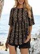 Black Half Sleeve Crew Neck Floral-Print Floral Shirts & Tops
