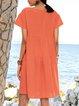 Gathered Short Sleeve Swing Dresses