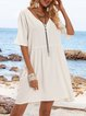 White Short Sleeve A-Line Dresses