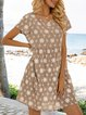 Apricot Short Sleeve Casual A-Line Dresses