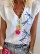 White Cotton-Blend Short Sleeve Printed V Neck Shirts & Tops