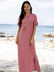 Pink Short Sleeve Crew Neck Slit Dresses