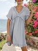 Blue Casual Short Sleeve Paneled Dresses