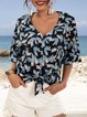Blue V Neck Paneled Casual Floral Shirts & Tops