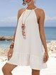 White Sleeveless Halter Plain Dresses