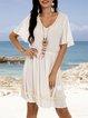 White Plain Holiday V Neck Dresses