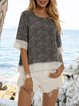 Black Short Sleeve Crew Neck Floral-Print Shirts & Tops