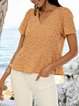 Yellow Cotton-Blend Short Sleeve Shirts & Tops