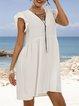 White Crew Neck Holiday Frill Sleeve Dresses
