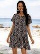 Blue Floral V Neck Short Sleeve Swing Dresses