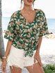 Dark Green Half Sleeve Floral V Neck Shirts & Tops