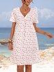 Pink Paneled Holiday Short Sleeve Dresses