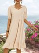 Apricot Holiday Cotton-Blend Dresses