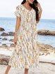 White Floral Floral-Print Casual Cotton-Blend Dresses