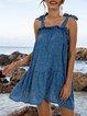 Blue Cotton-Blend Swing Spaghetti-Strap Floral Dresses
