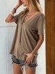 Khaki Casual Shift Shirts & Tops