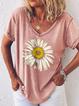 Printed Casual Short Sleeve Floral Shirts & Tops