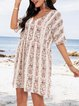 White Paneled Floral A-Line Casual Dresses