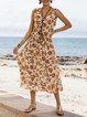 Orange Red Floral Cotton-Blend Casual V Neck Dresses