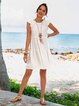 Off White Swing Plain Frill Sleeve Holiday Dresses