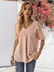Pink Cotton Short Sleeve Shirts & Tops