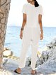 White Casual Cotton-Blend Crew Neck One-Pieces