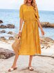 Mustard Crew Neck Cotton-Blend Casual Dresses