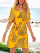 Yellow Floral-Print Shift Boho V Neck Dresses