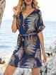 Blue Floral V Neck Holiday A-Line Dresses