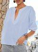 Blue Printed V Neck Plain Half Sleeve Shirts & Tops